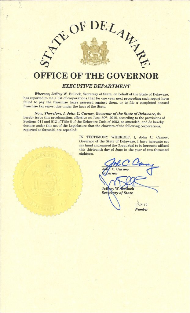 2018 Void Proclamation Division Of Corporations State Of Delaware
